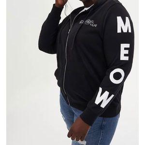 🆕 Black Fleece Knit Meow Sleeve Graphic Hoodie 1X